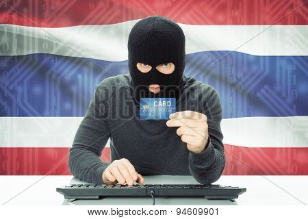 Concept Of Cybercrime With National Flag On Background - Thailand