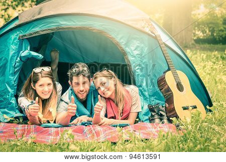 Group Of Best Friends With Thumbs Up Having Fun Camping Together - Concept Of Happy Carefree Youth