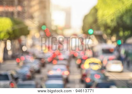 Blurred Background Rush Hour With Defocused Cars And Generic Vehicles - Traffic Jam In Los Angeles