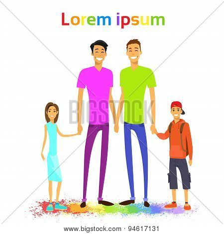 Same Couple Gay Man Family with Kids Colorful