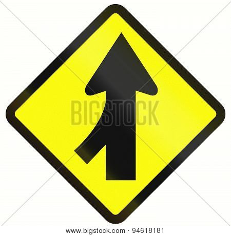 Indonesian road warning sign: Merge ahead from the right poster