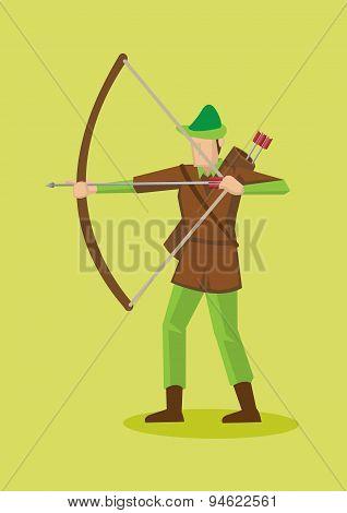 Robin Hood With Bow And Arrows Vector Cartoon Character Illustration