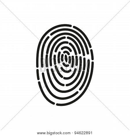 The Fingerprint Icon. Id Symbol. Flat