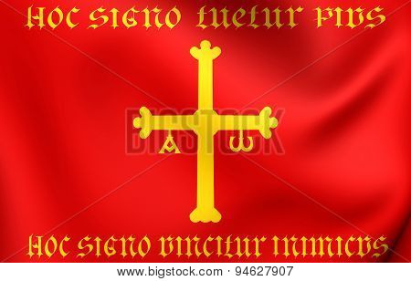 Kingdom of Asturias 3D Flag. Close Up. poster