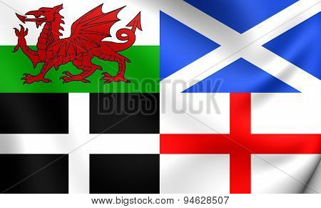 3D Flag of the Wales Scotland Cornwall and England. Close Up. poster