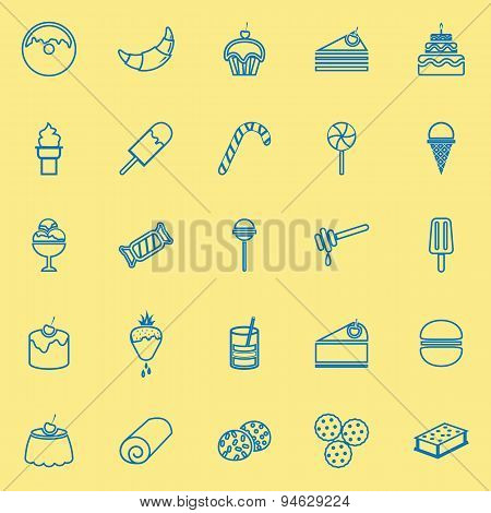 Dessert Line Icons On Yellow Background