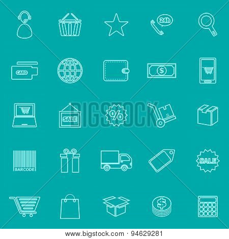 E-commerce Line Icons On Green Background