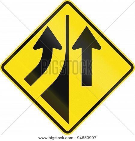Australian road warning sign - Merging from the left poster