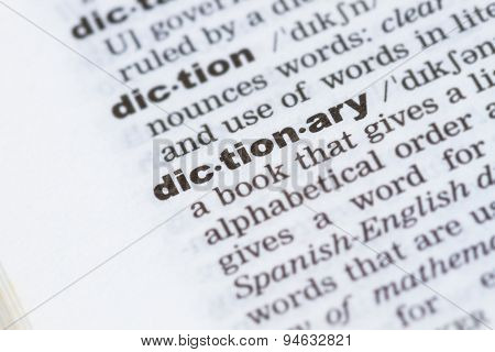Closeup Word Dictionary  In Dictionary