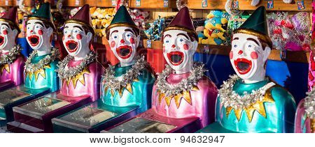 Clowns And Toys On Display In The Shop