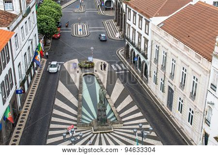 PONTA DELGADA, PORTUGAL - JUN 15, 2015: Top view of Praca da Republica in Ponta Delgada (Azores). City is located on Sao Miguel Island (232.99 km2) Region capital under revised constitution of 1976.