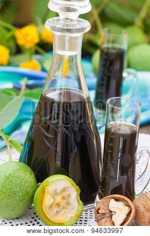 Walnut liqueur with green walnuts