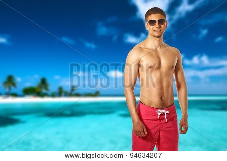 Man on island beach with sandspit at Maldives. Collage.