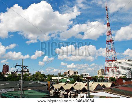 Sunny Aerial City View Panorama