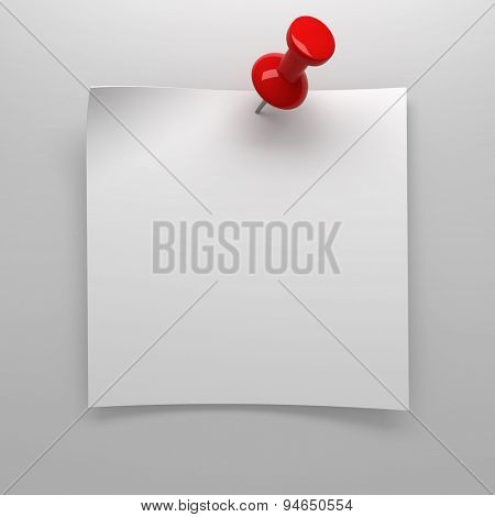 Red pushpin holding up blank note