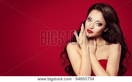 Woman Face Nails, Red Fashion Model Makeup, Girl Beauty Portrait