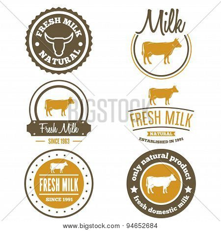Set of vintage labels, logo, emblem templates for milk