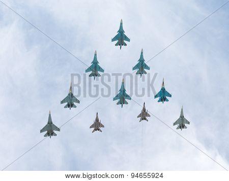 Mig-29 And Sukhoi Flying Pyramid