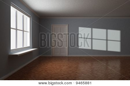 Empty Room, with Door and Window, Sun Highlight On The Wall