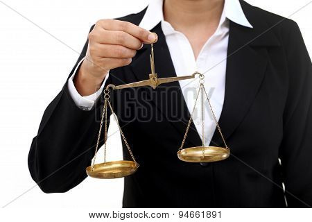 Businesswoman Holding The Justice Scale
