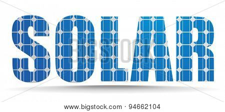 detailed illustration of a solar text with photovoltaik cell pattern, eps10 vector