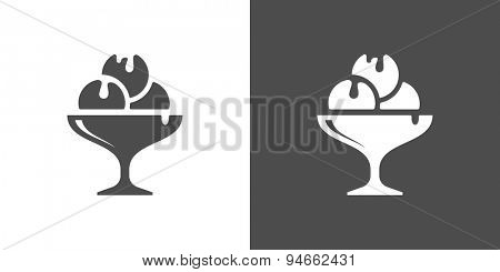 Icecream icon. Two-tone version of icecream vector icon on white and black background. A cocktail glass of ice cream, with whipped cream