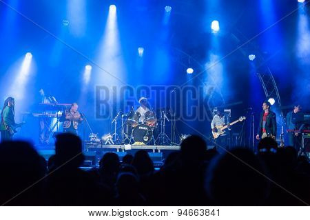 MOSCOW - JUNE 20: Tony Allen group performs at XII International Jazz Festival