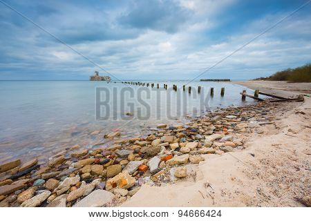 Beach With Old Military Buildings