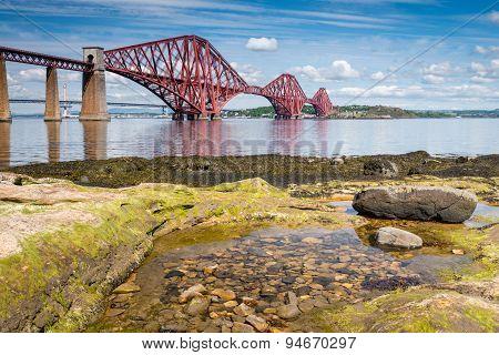 Forth Bridge At Low Tide