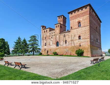Old medieval castle in small town of Grinzane Cavour in Piedmont, Northern Italy.