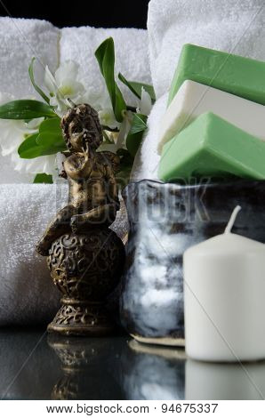 White Spa Towels In A Set With Accessories For The Bath