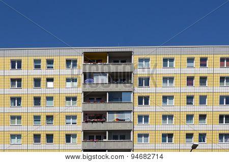 plattenbau - residential building facade, berlin, germany - real estate