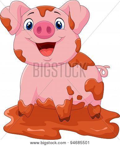 Cartoon play pig slurry