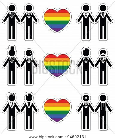 Gay man grooms icon set with rainbow element