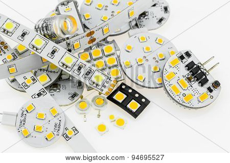 Several G4 Led Bulbs With Different Electronics And Led Strips And Various Smd Chips