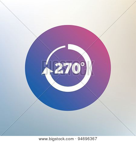 Angle 270 degrees sign icon. Geometry math symbol. Icon on blurred background. Vector poster
