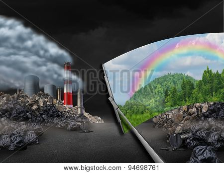 Cleaning the environment and global warming environmental concept as a scene with pollution being wiped with a wiper revealing a clean green natural landscape as a symbol for conservation and earth day. poster