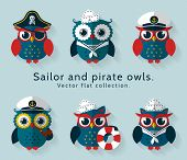 Ahoy! Set of sailor captain and pirate owls for sea and nautical design. Funny icons isolated on blue background. Vector flat collection. poster