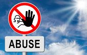 stop child abuse or misuse of power and domestic violence prevention warning sign  poster