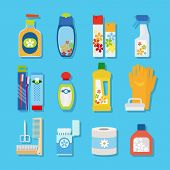 Vector hygiene and cleaning products flat icons. Cleaner and toilet paper, toothpaste and deodorant poster