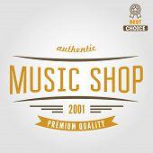 Vintage logo or logotype elements for music shop, guitar shop poster