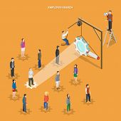 Employee search flat isometric vector concept. Headhunter is searching for employees using magnifying glass. poster