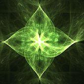 fractal rendering of emerald green leaves shiny design poster