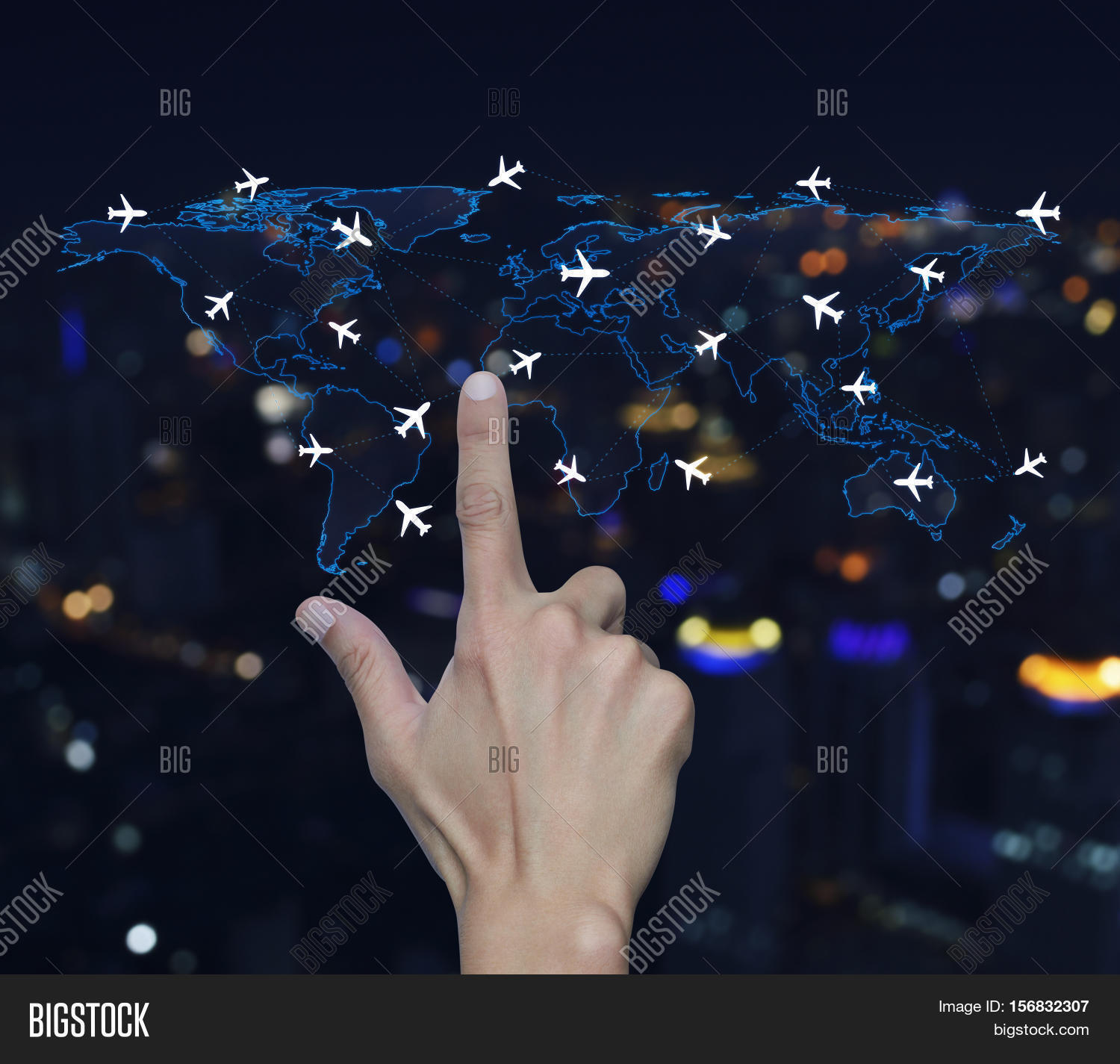Imagen y foto hand pressing light blue world map bigstock hand pressing light blue world map with flight routes airplanes over blurred night city tower background gumiabroncs Gallery