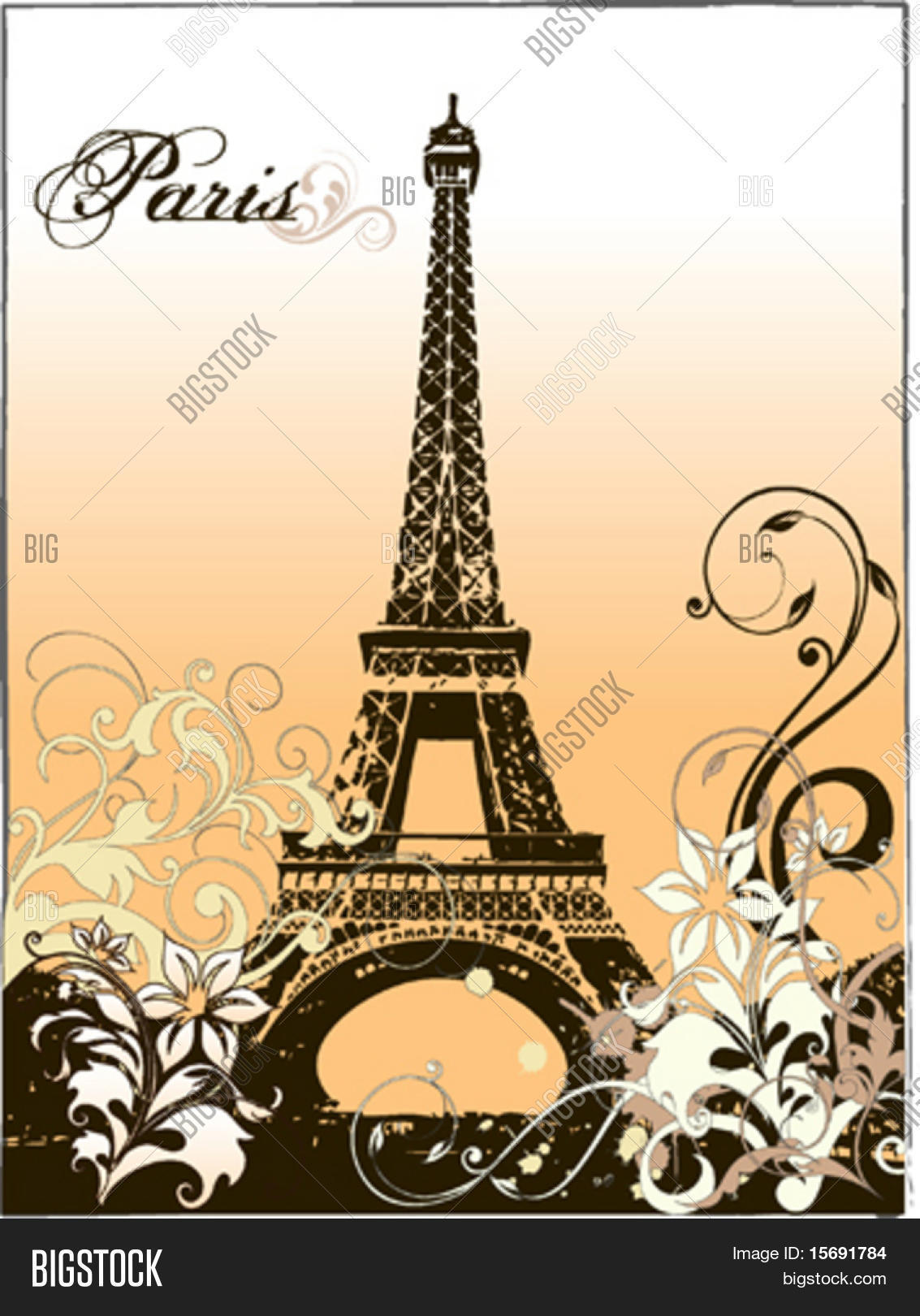 Vector eiffel tower flourishes vector photo bigstock vector eiffel tower with flourishes thecheapjerseys Image collections