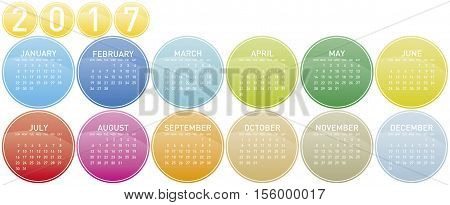 Colorful Calendar For Year 2017 In A Circles Theme, In Vector Format.