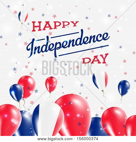 Guadeloupe Independence Day Patriotic Design. Balloons In National Colors Of The Country. Happy Inde