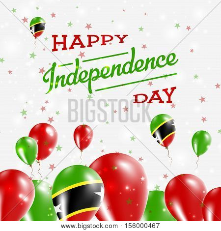 Saint Kitts And Nevis Independence Day Patriotic Design. Balloons In National Colors Of The Country.
