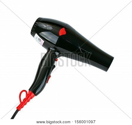 Black multi speed hair dryer on isolated white background