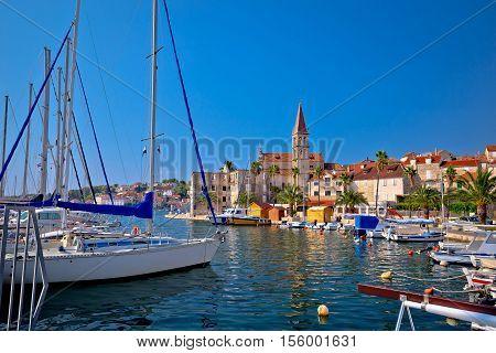 Town of Milna waterfront and marina view Island of Brac Dalmatia Croatia